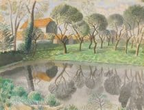 Eric ravilious illustration of a newt pond