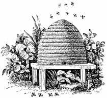 A sketch of a beehive with bees flying out of it
