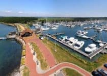 Chichester marina lock aerial photo