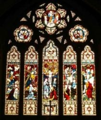 A stained glass church window