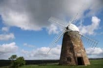 clouds behind a windmill