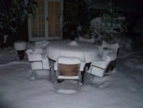 Heavy snow on a bbq table