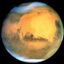 Mars in the eastern sky