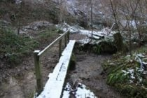 Snowy bridge in bignor