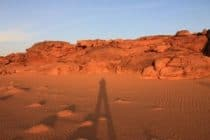 Red sand and rocks in the desert