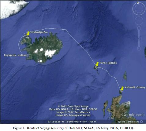 Map of Scotland to Iceland via Faroe Islands
